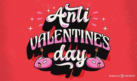 Diseño de letras anti día de san valentín