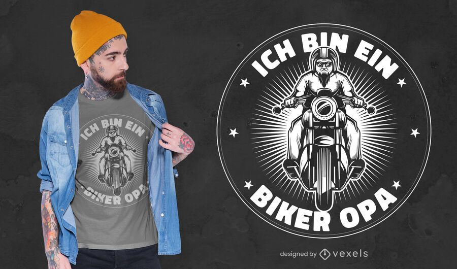 Design de camiseta de motociclista do vovô