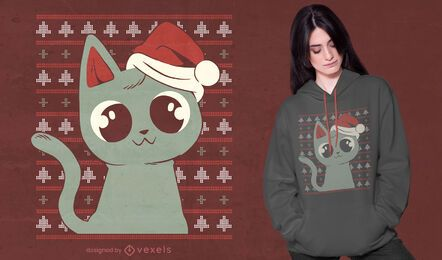 Cat ugly sweater t-shirt design