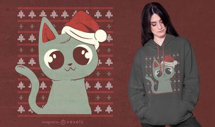 Design de camiseta com suéter feio gato