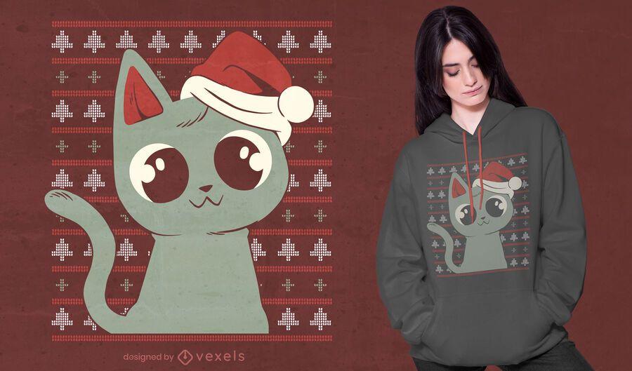 Diseño de camiseta de suéter feo de gato