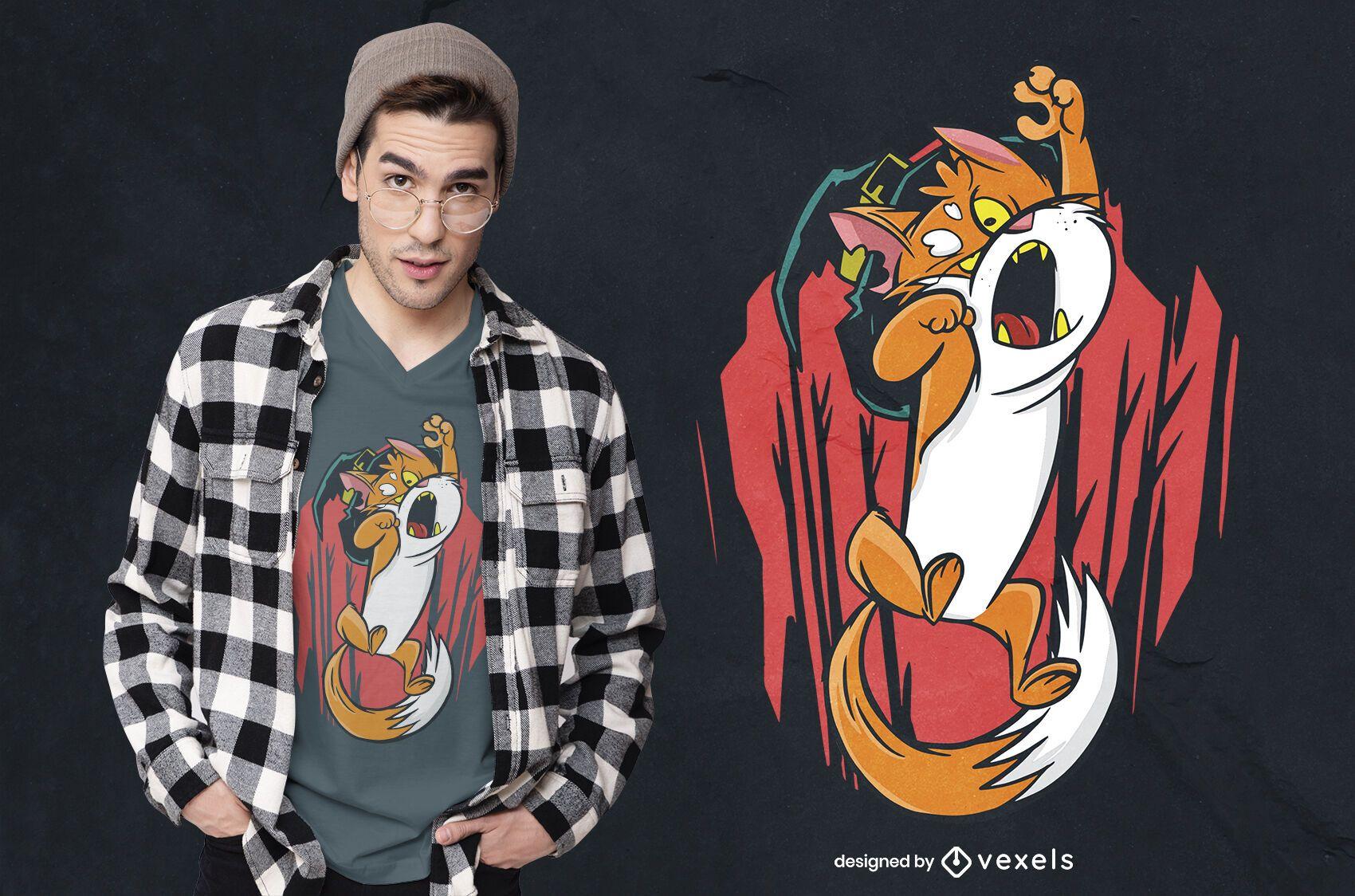 Diseño de camiseta gato bruja