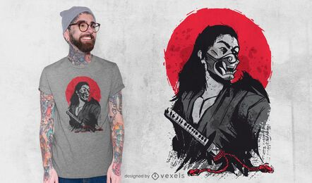 Diseño de camiseta de guerrero japonés masculino.