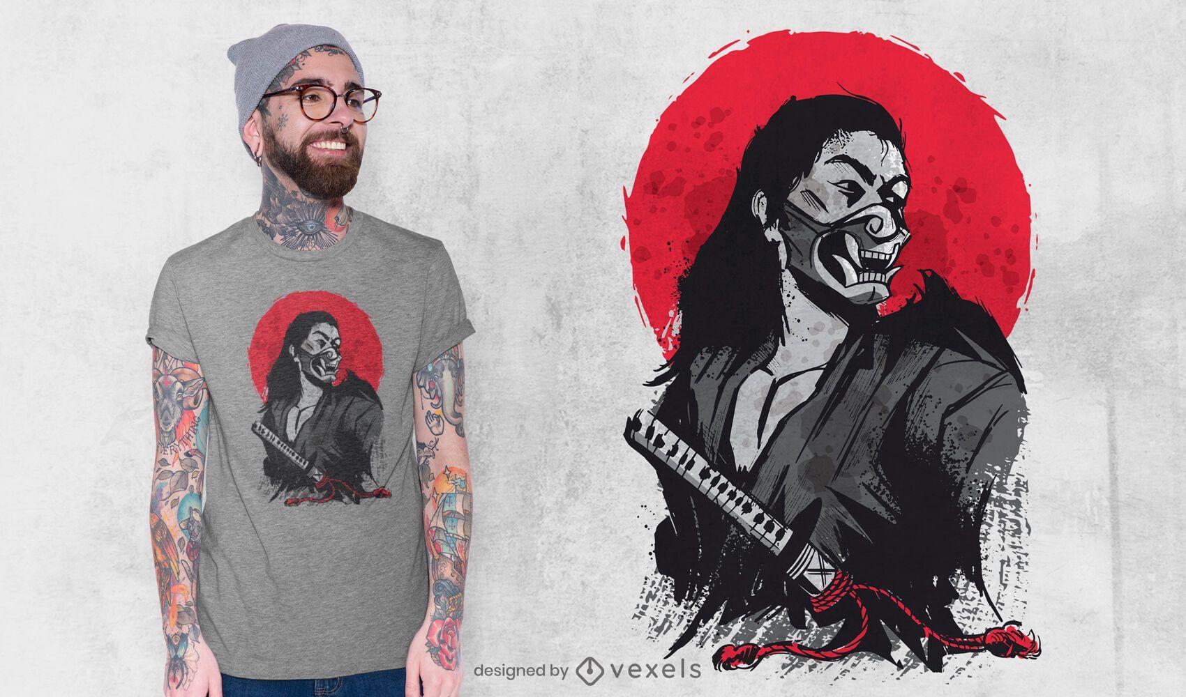 Dise?o de camiseta de guerrero japon?s masculino.