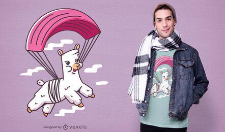 Design de camiseta de alpaca de paraquedismo