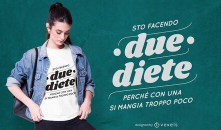 Diseño de camiseta italiana dos dietas.