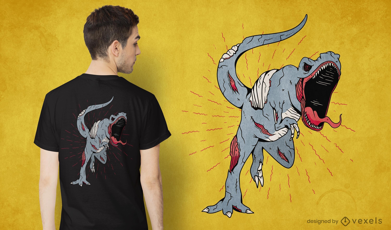 Diseño de camiseta zombie t-rex