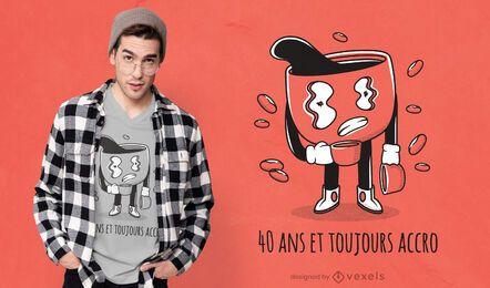 Diseño de camiseta francesa adicto al café