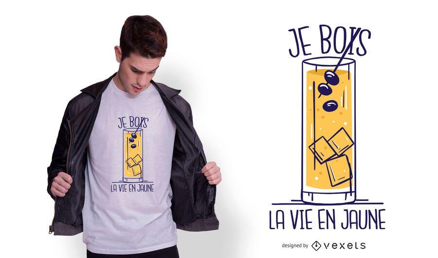 Design de t-shirt com citações em francês Pastis