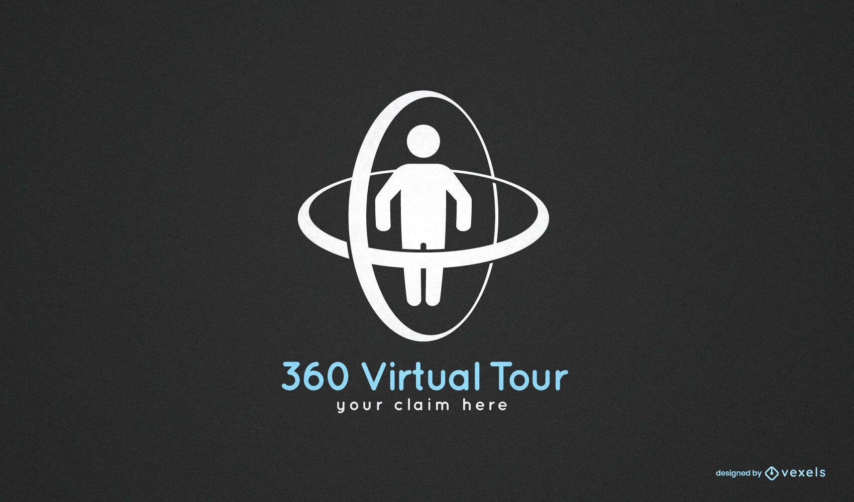 Modelo de logotipo de tour virtual 360