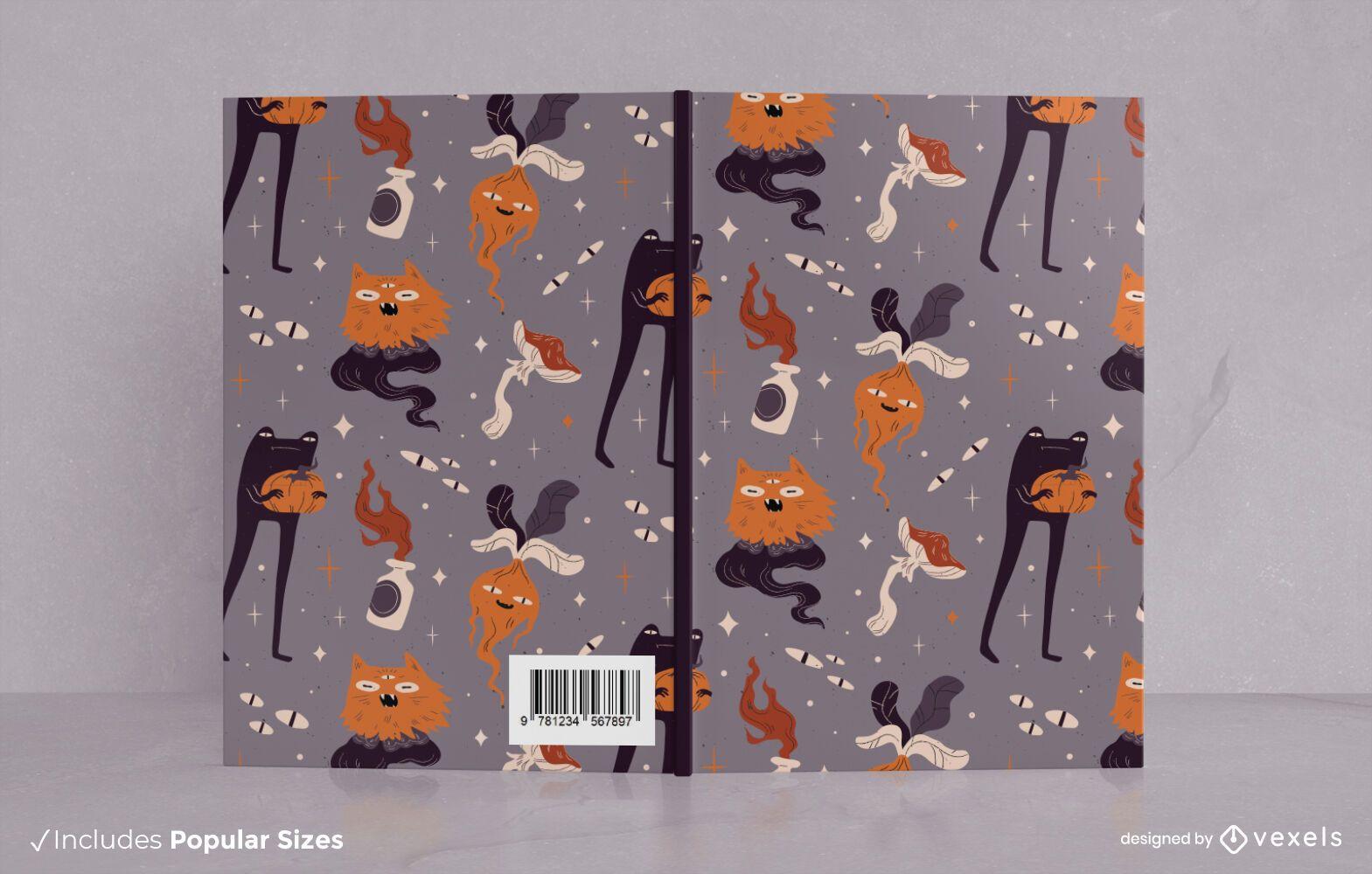 Design de capa de livro de monstros de Halloween