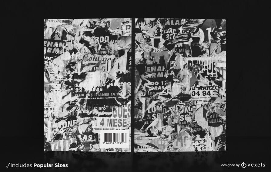 Design de capa de livro de revista rasgada