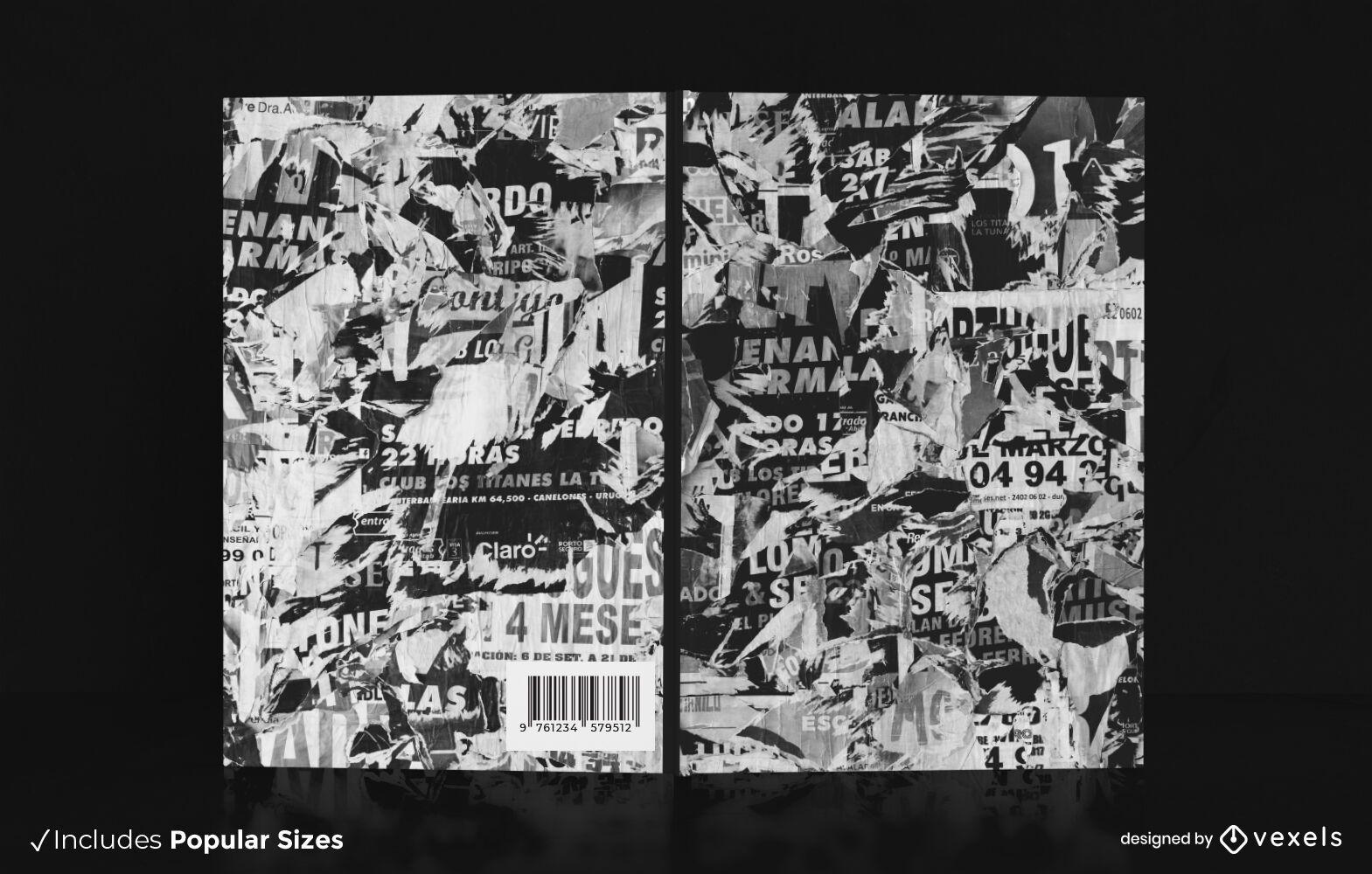 Diseño de portada de libro de revista rasgado