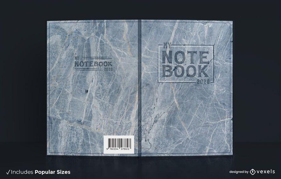Design da capa do livro com textura de mármore