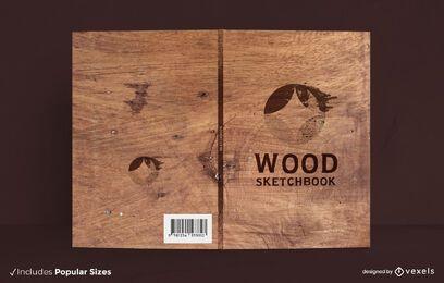 Diseño de portada de libro de textura de madera