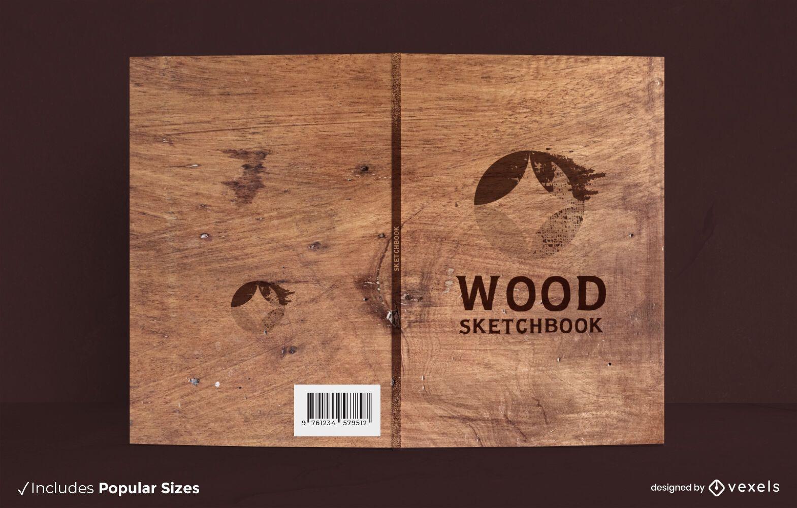 Design da capa do livro com textura de madeira