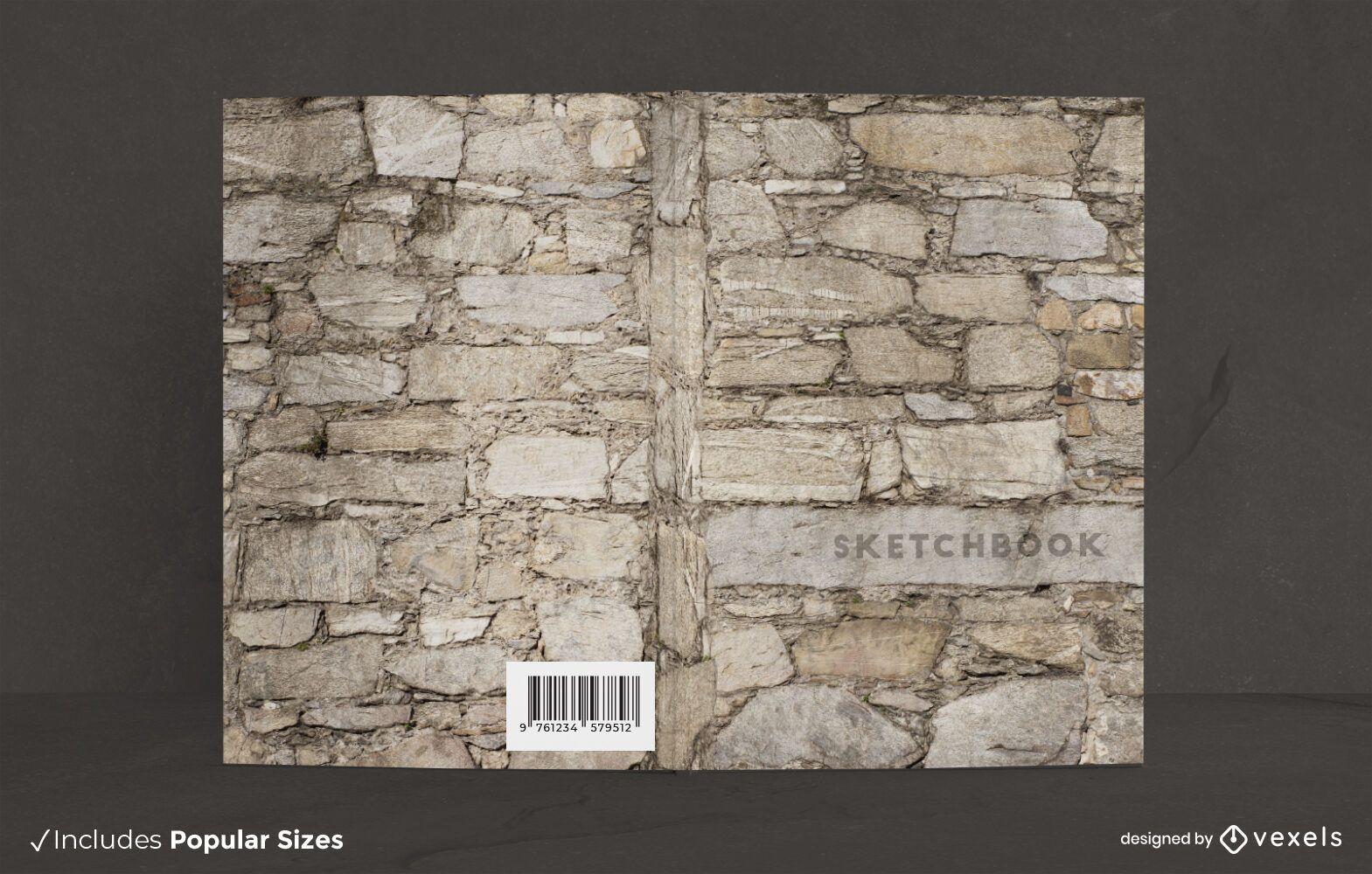 Design de capa de livro em parede de pedra