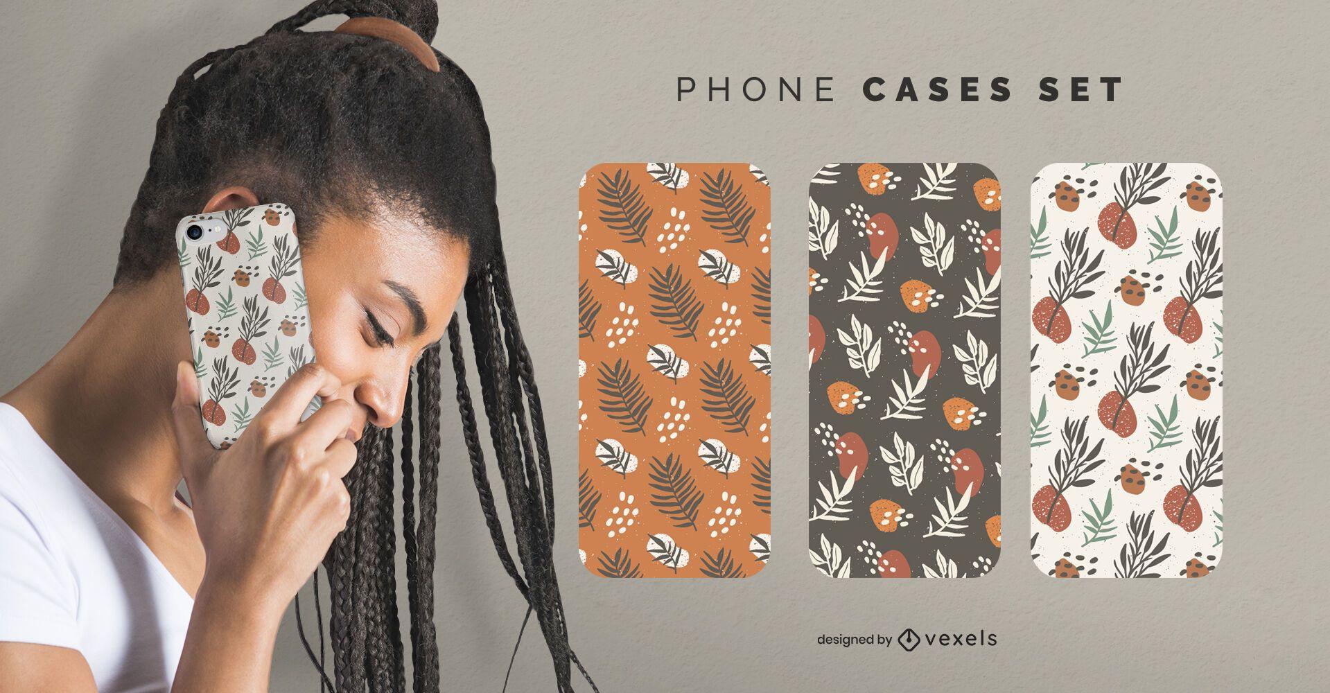 Leaves phone cases set