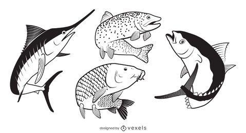Diseño de conjunto de ilustración de pescado