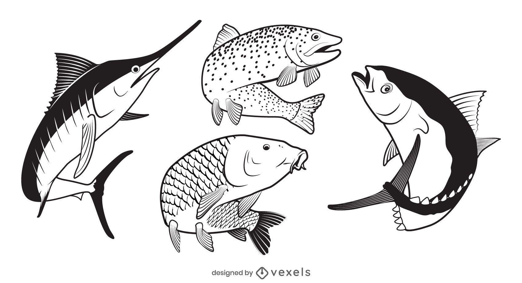 Fish illustration set design