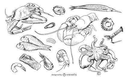 Conjunto de frutos do mar desenhados à mão