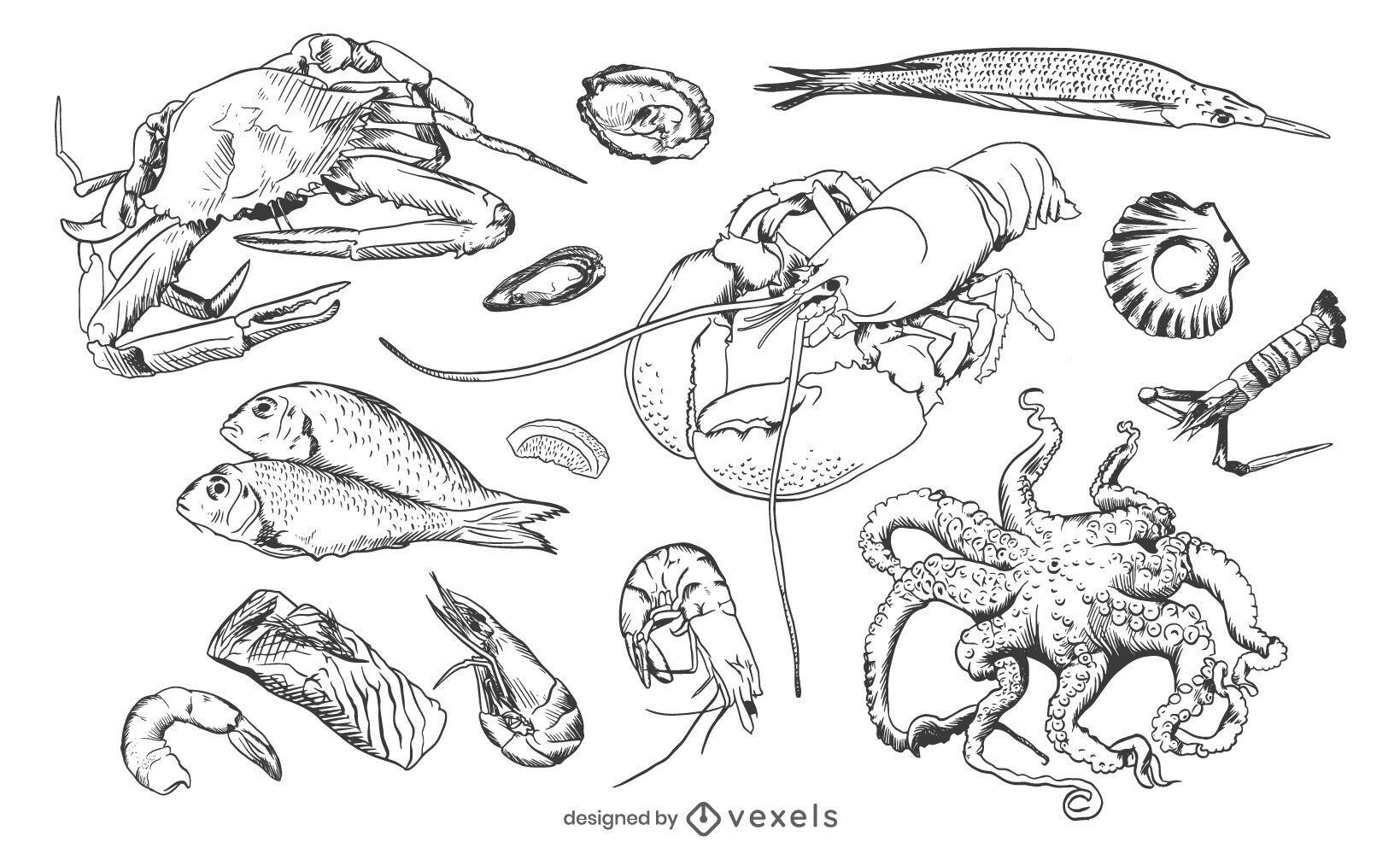 Seafood hand drawn set