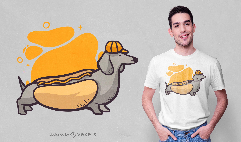 Diseño de camiseta de perro salchicha