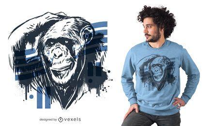 Diseño de camiseta de chimpancé graffiti