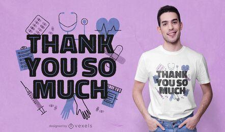 Diseño de camiseta de atención médica gracias