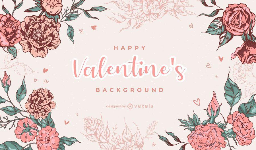 Valentine's day flowers background design