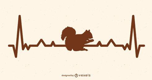 Diseño de ilustración de ardilla de frecuencia cardíaca