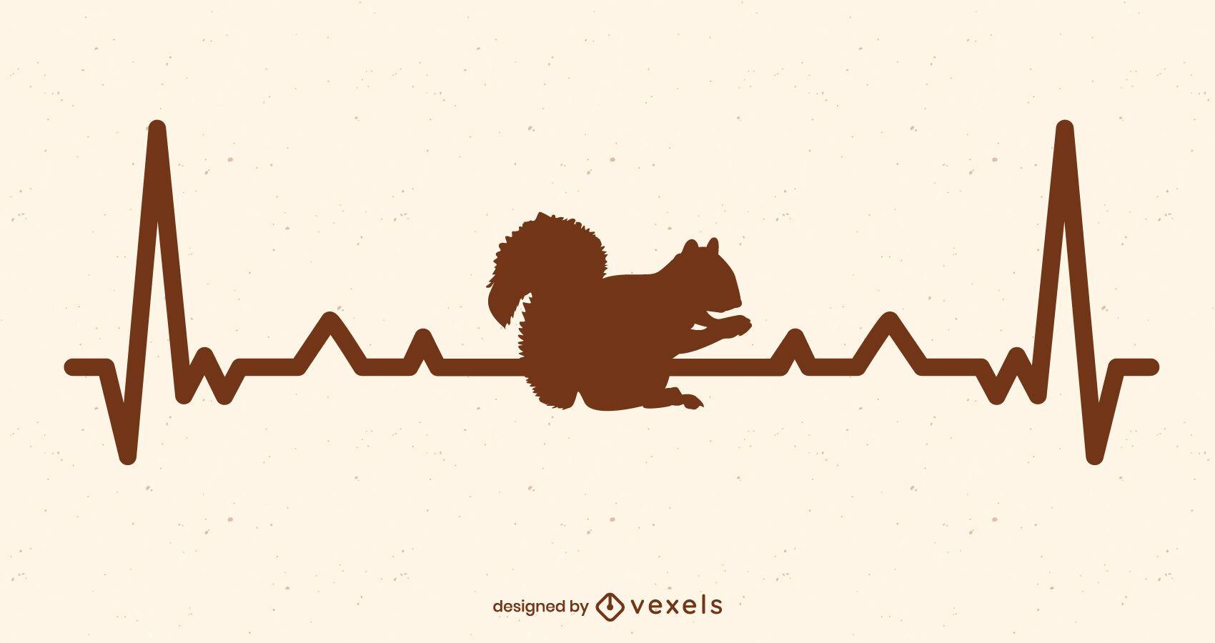 Heart rate squirrel illustration design