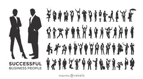 Conjunto de silueta de personas de negocios exitosas