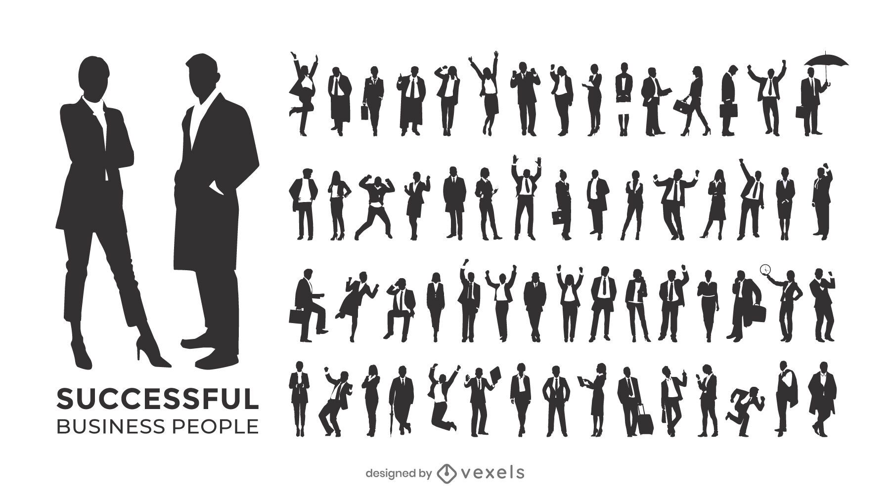 Successful business people silhouette set
