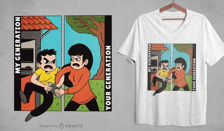 Design de camisetas de desenhos animados de geração