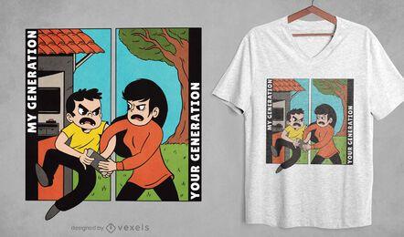 Diseño de camiseta de dibujos animados de generación.