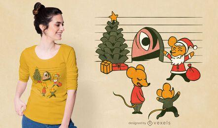 Diseño de camiseta de ratones navideños.