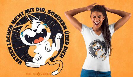 Diseño de camiseta con cita de gato riendo
