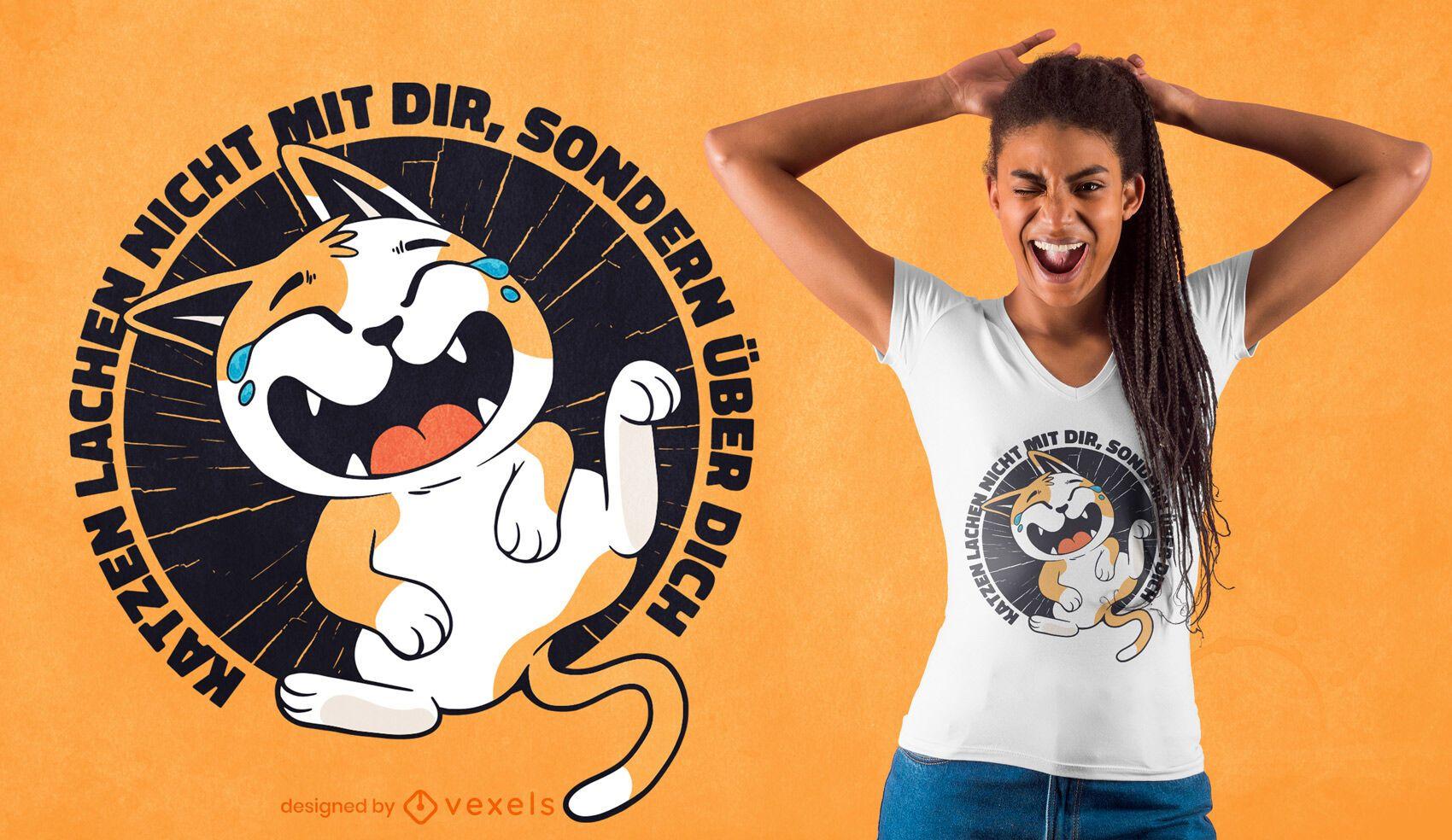 Design de camiseta com citação de gato rindo