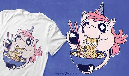 Desenho de camiseta de unicórnio comendo ramen