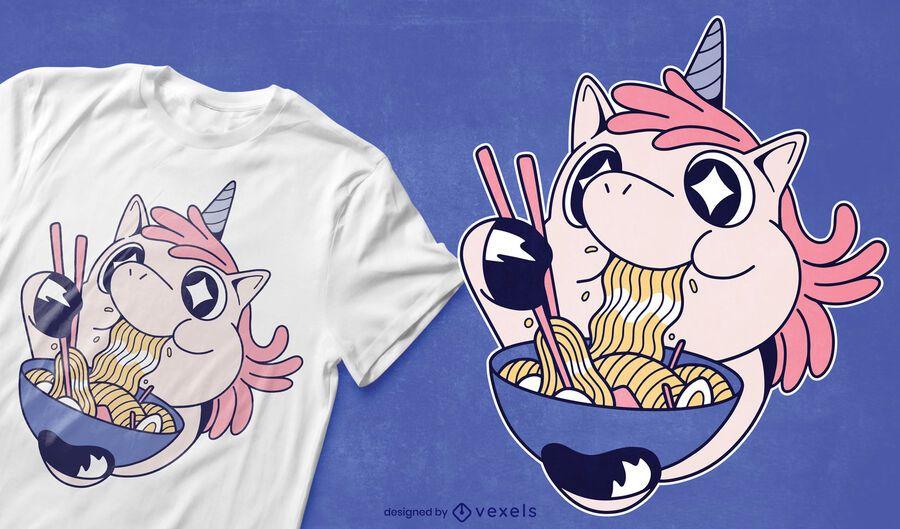 Einhorn, das Ramen-T-Shirt Design isst