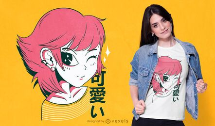 Diseño de camiseta kawaii anime girl