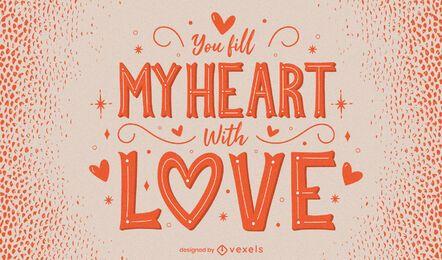 Diseño de letras de corazón de san valentín