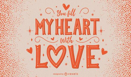 Valentine's day heart lettering design