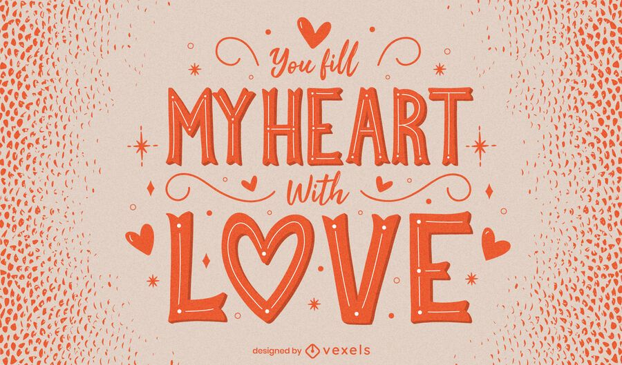 Valentine's day heart lettering design