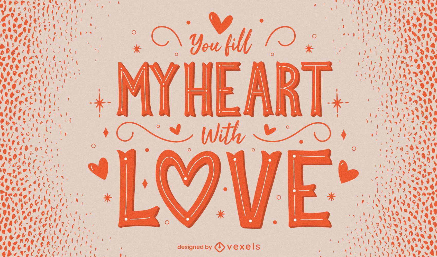Dia dos Namorados desenho de letras de coração