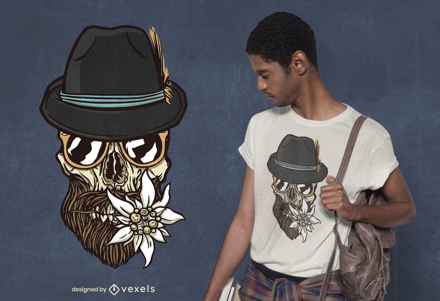 Diseño de camiseta de calavera hipster