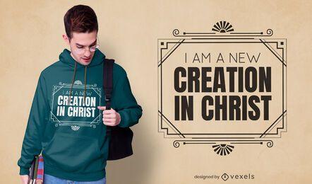 Diseño de camiseta de creación en cristo