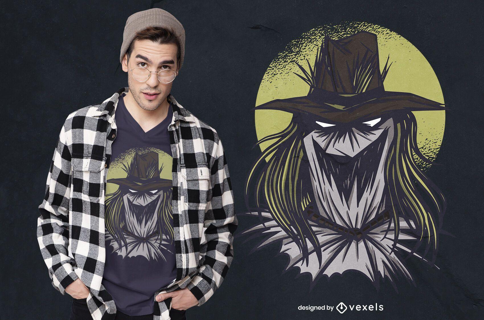 Diseño de camiseta de espantapájaros espeluznante