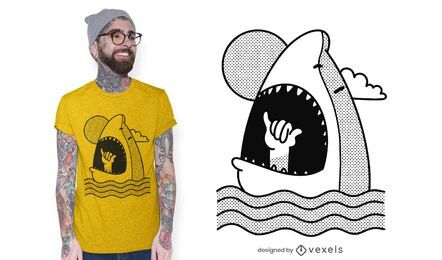 Design de t-shirt Shaka shark